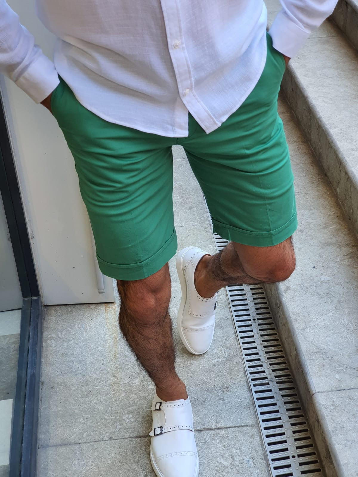 Bern Green Slim Fit Shorts