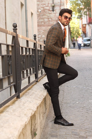 Marina Khaki Slim Fit Wool Blazer