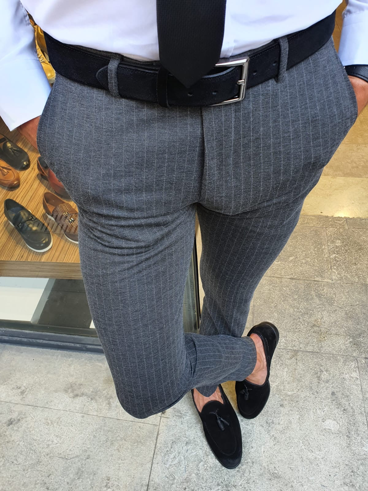 Oakland Anthracite Slim Fit Pinstripe Pants
