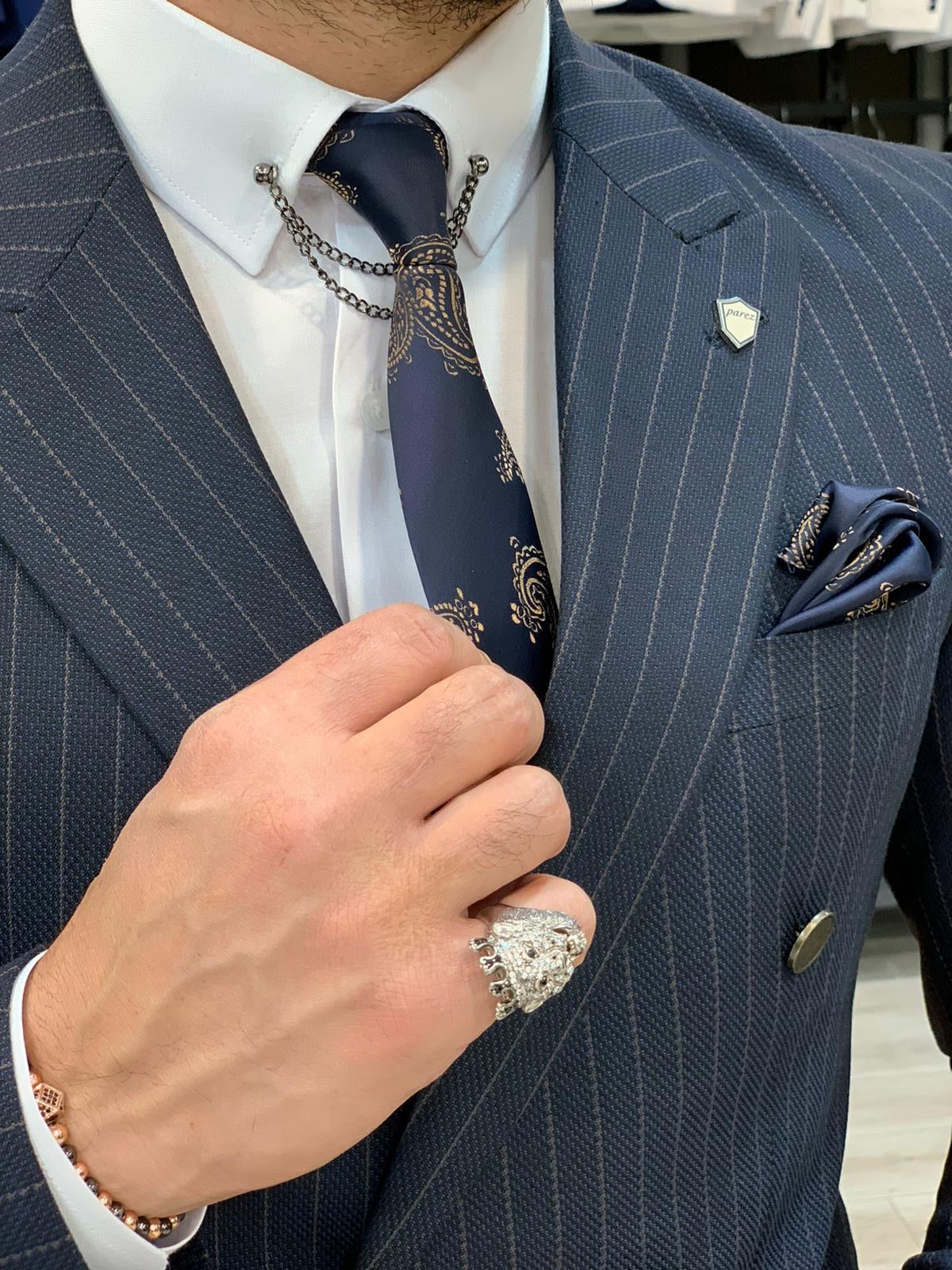 Austin Navy Blue Double Breasted Pinstripe Suit
