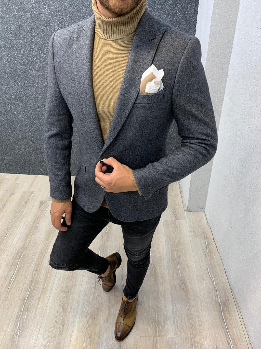 Larook Gray Slim Fit Blazer