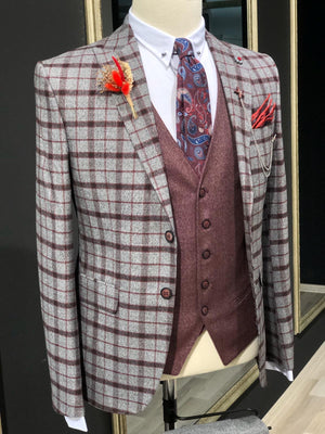 Apollo Gray Plaid Slim Fit Suit