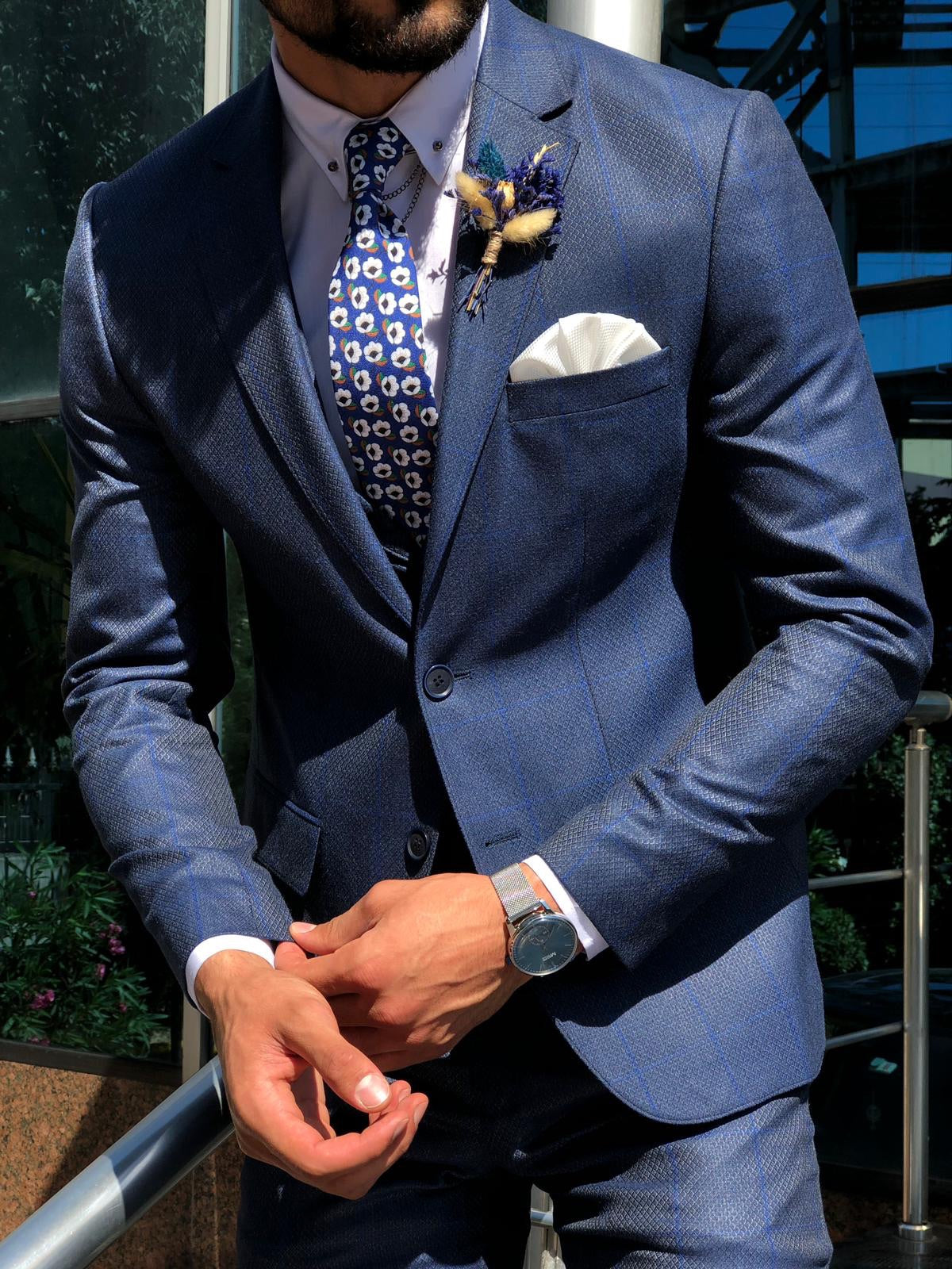 Calvin Navy Pattered Slim-Fit Suit
