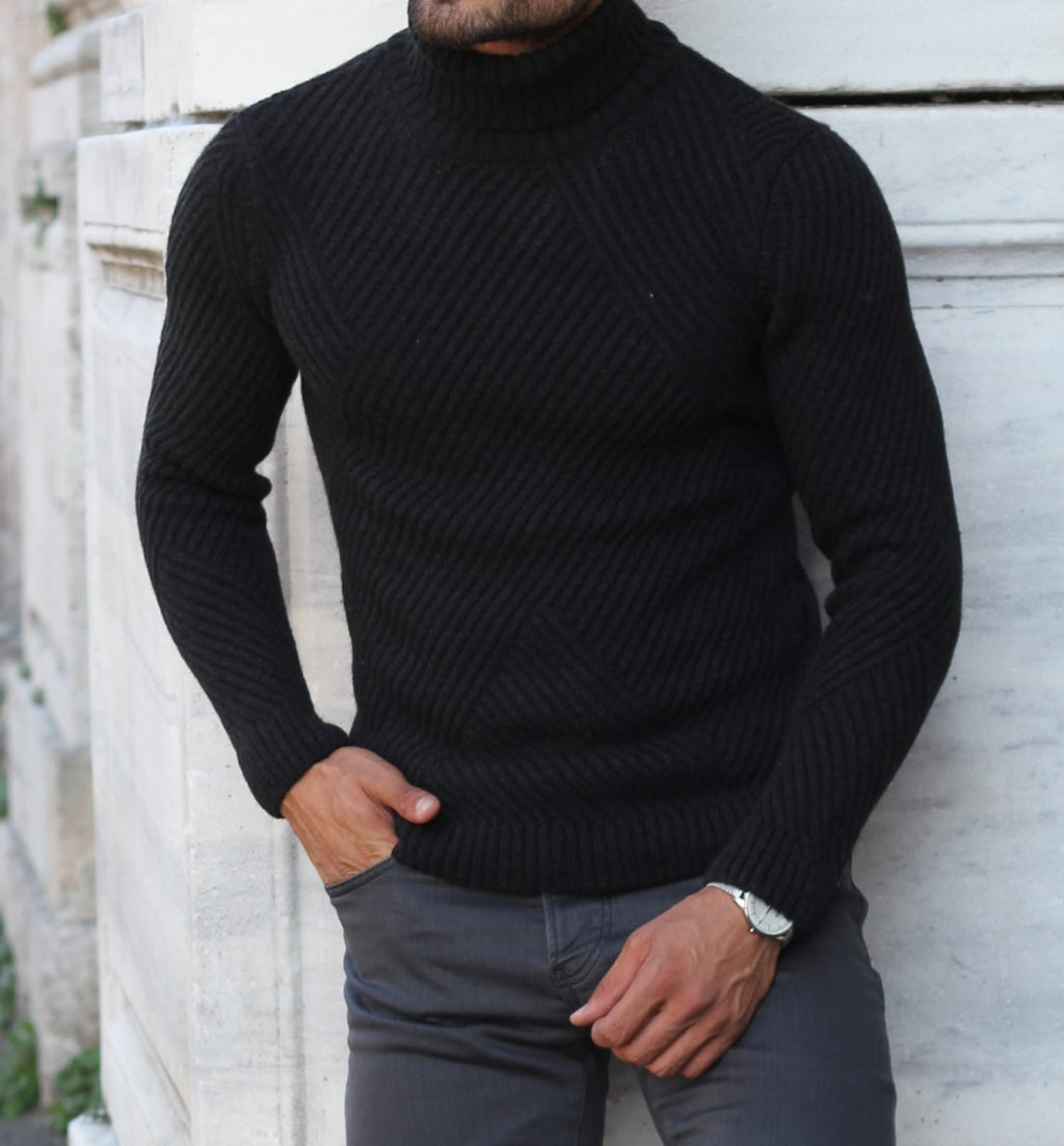 Marina Black Turtleneck Wool Sweater
