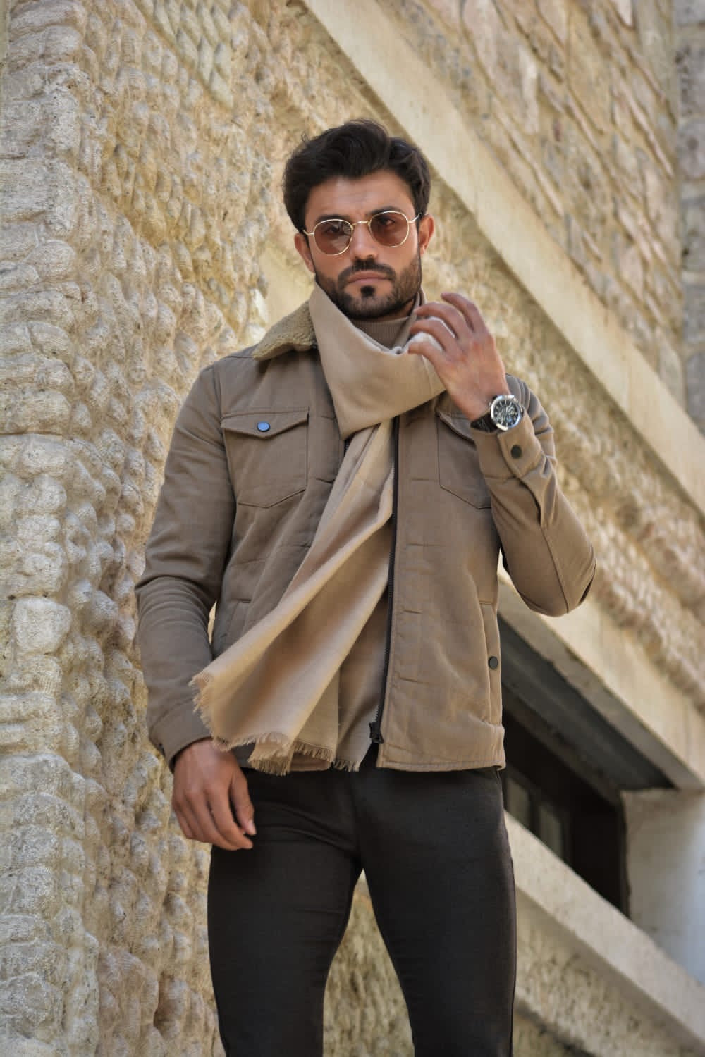 Henderson Beige Slim Fit Velvet Coat