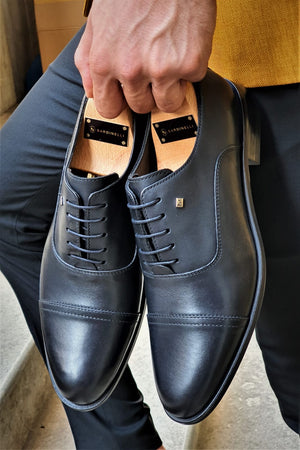 Stefano Black Wholecut Oxfords