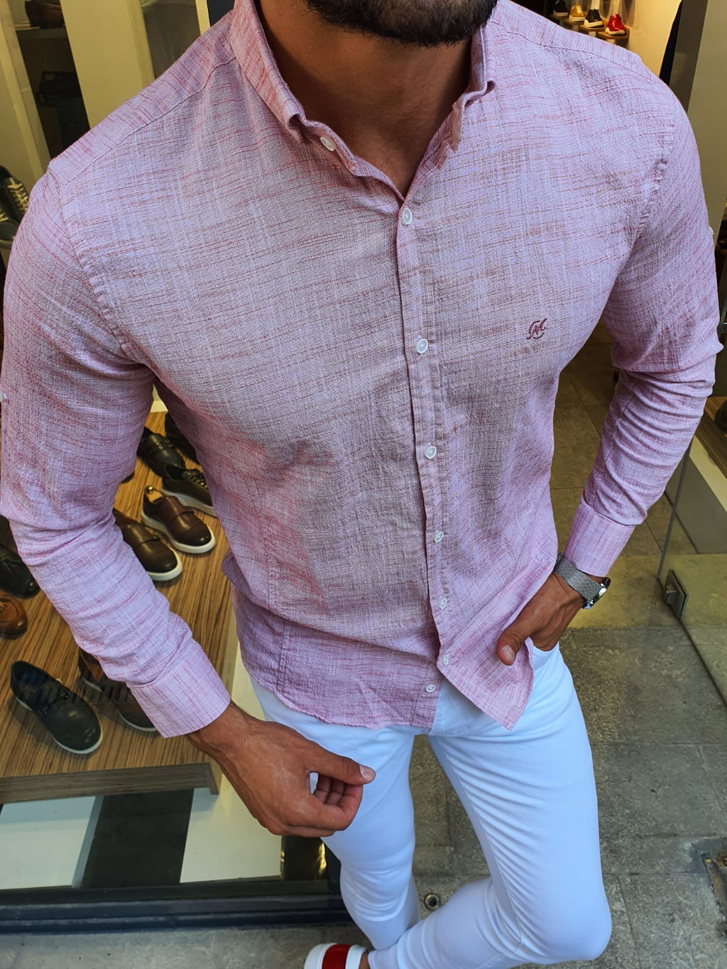 Madison Red Slim Fit Button Collar Shirt