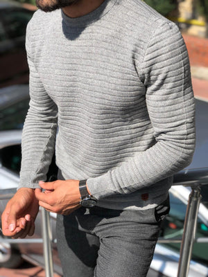 Slim-Fit Patterned Knitwear  Grey