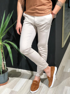 Beggi Slim-Fit Cotton Pants in Stone