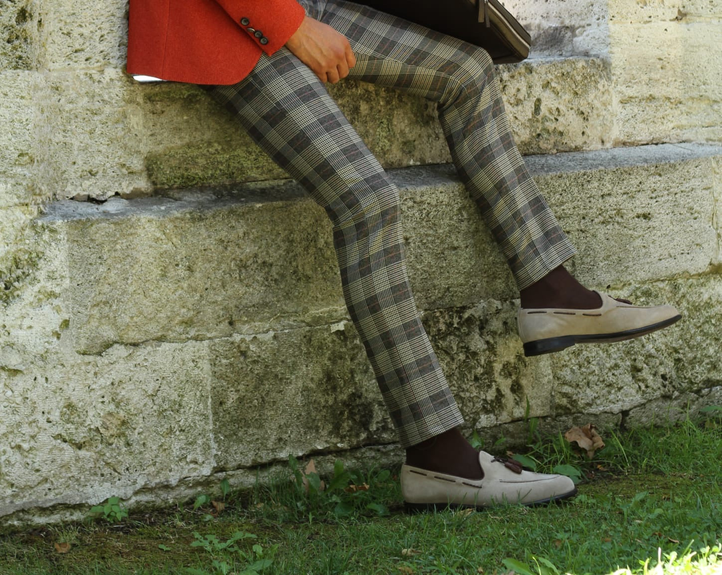 Adena Camel Slim Fit Plaid Pants