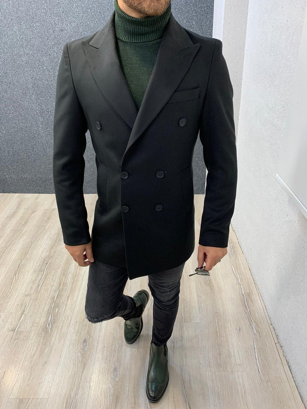 Ade Black Slim Fit Long Coat