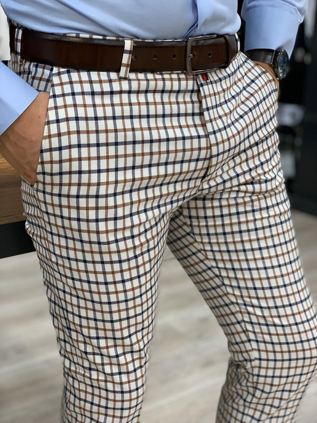 Livonia Navy Brown Plaid Slim Pants