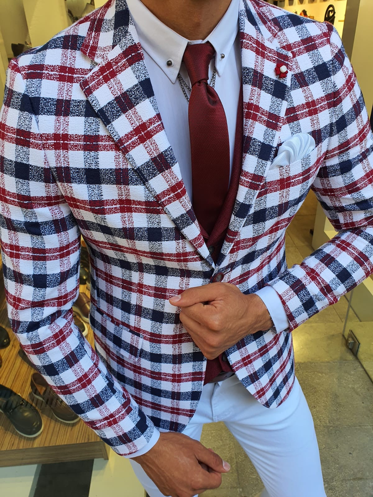 Skyesville Red Slim Fit Plaid Suit