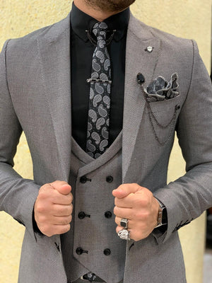 Eros Gray Slim Fit Wool Suit