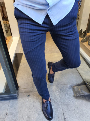 Oakland Indigo Slim Fit Pinstripe Pants