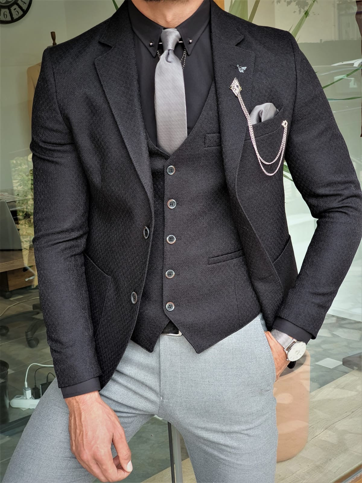 Henderson Jet Black Slim Fit Suit