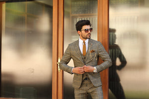 Marina Black Slim Fit Plaid Suit
