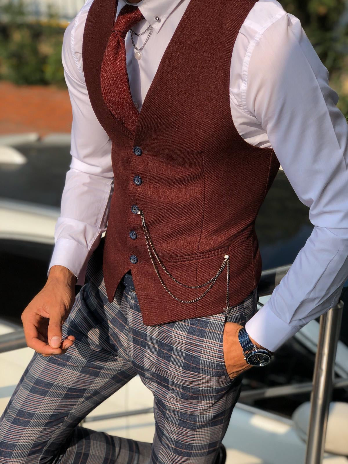 Fabros Claret Red Slim Fit Cotton Vest