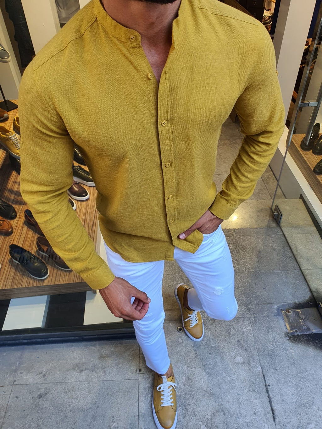 Madison Yellow Slim Fit Cotton Shirt