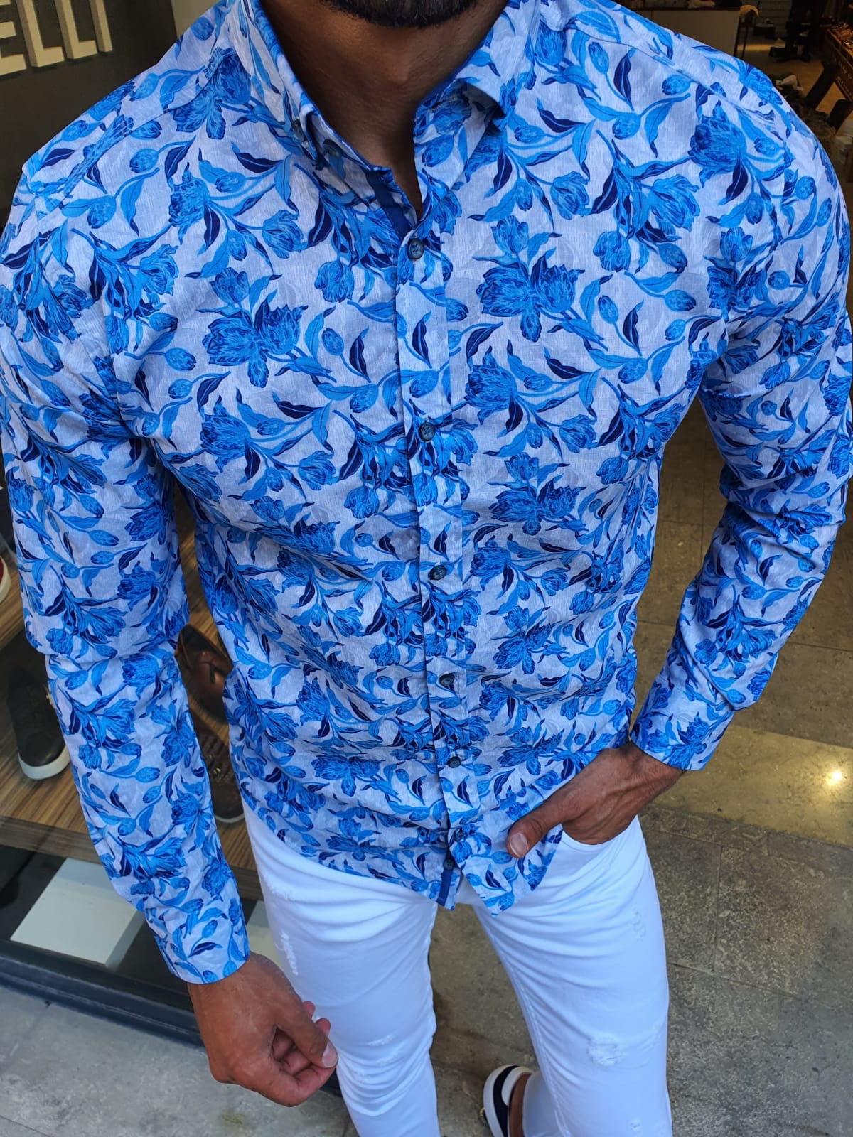 Henderson Turquoise Slim Fit Floral Shirt