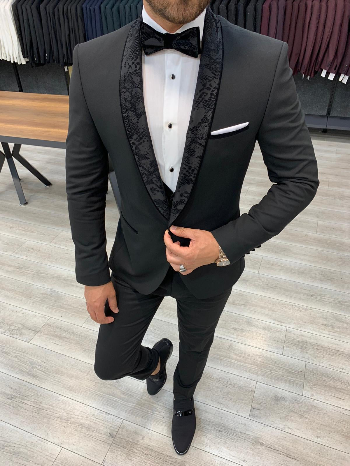 Genova Black Slim Fit Shawl Lapel Tuxedo