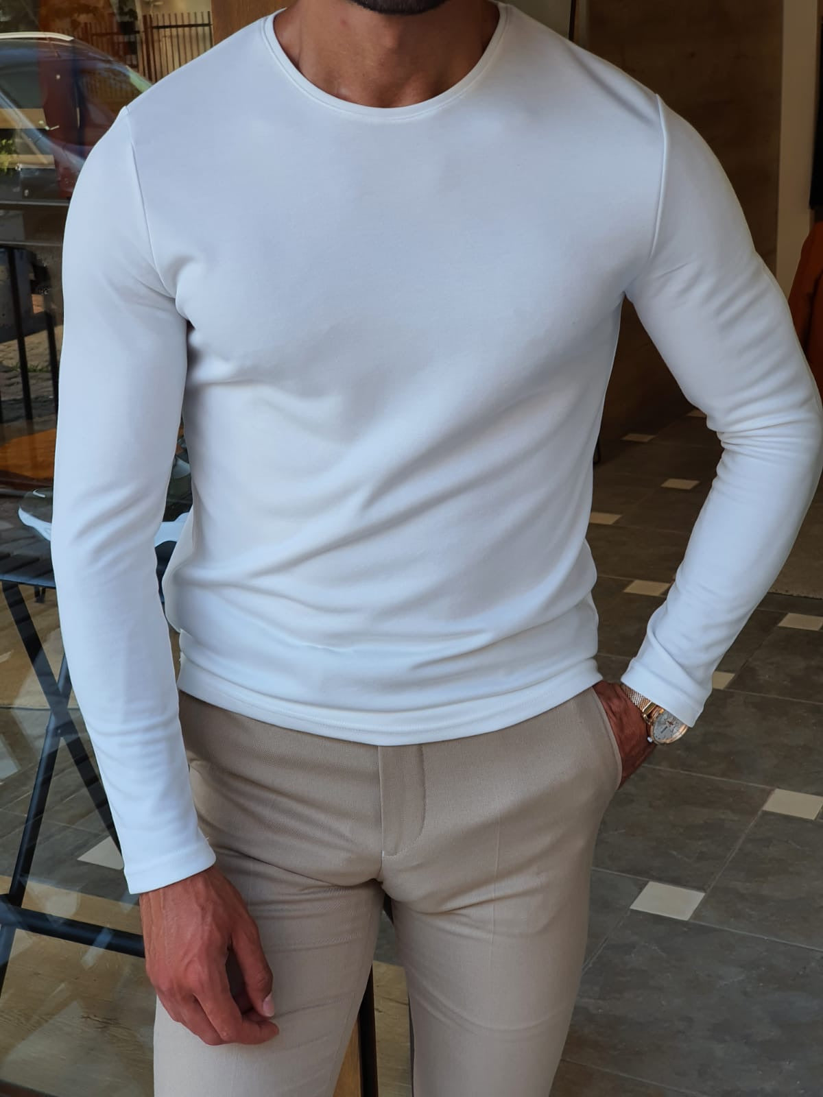 Stefano White Slim Fit Round Neck Sweater