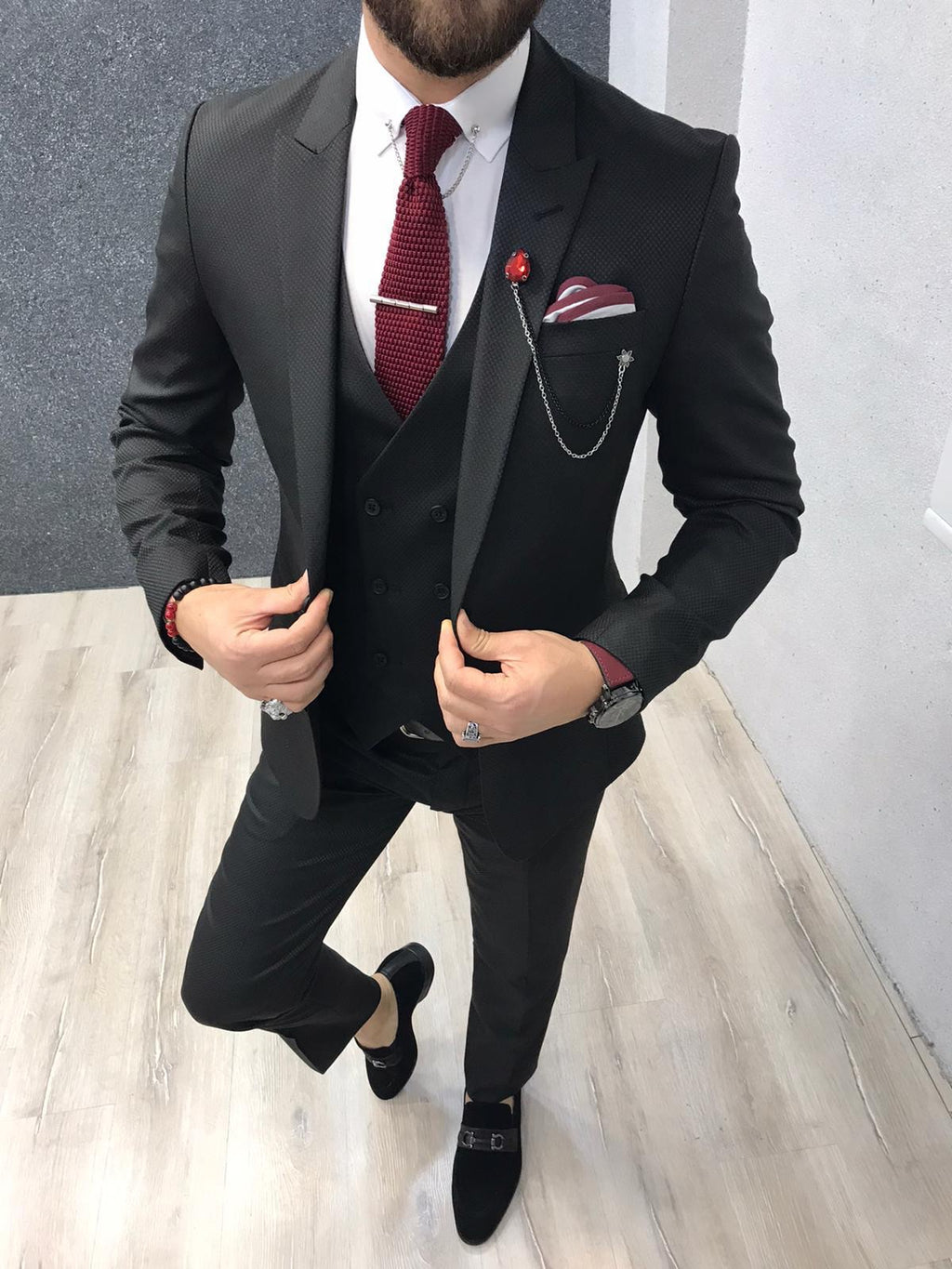 Asmo Black Slim Fit Wool Suit