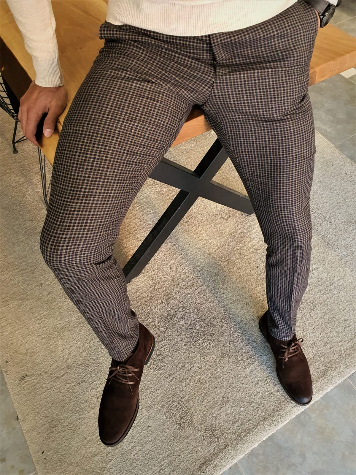 Clemson Camel Slim Fit Plaid Pants