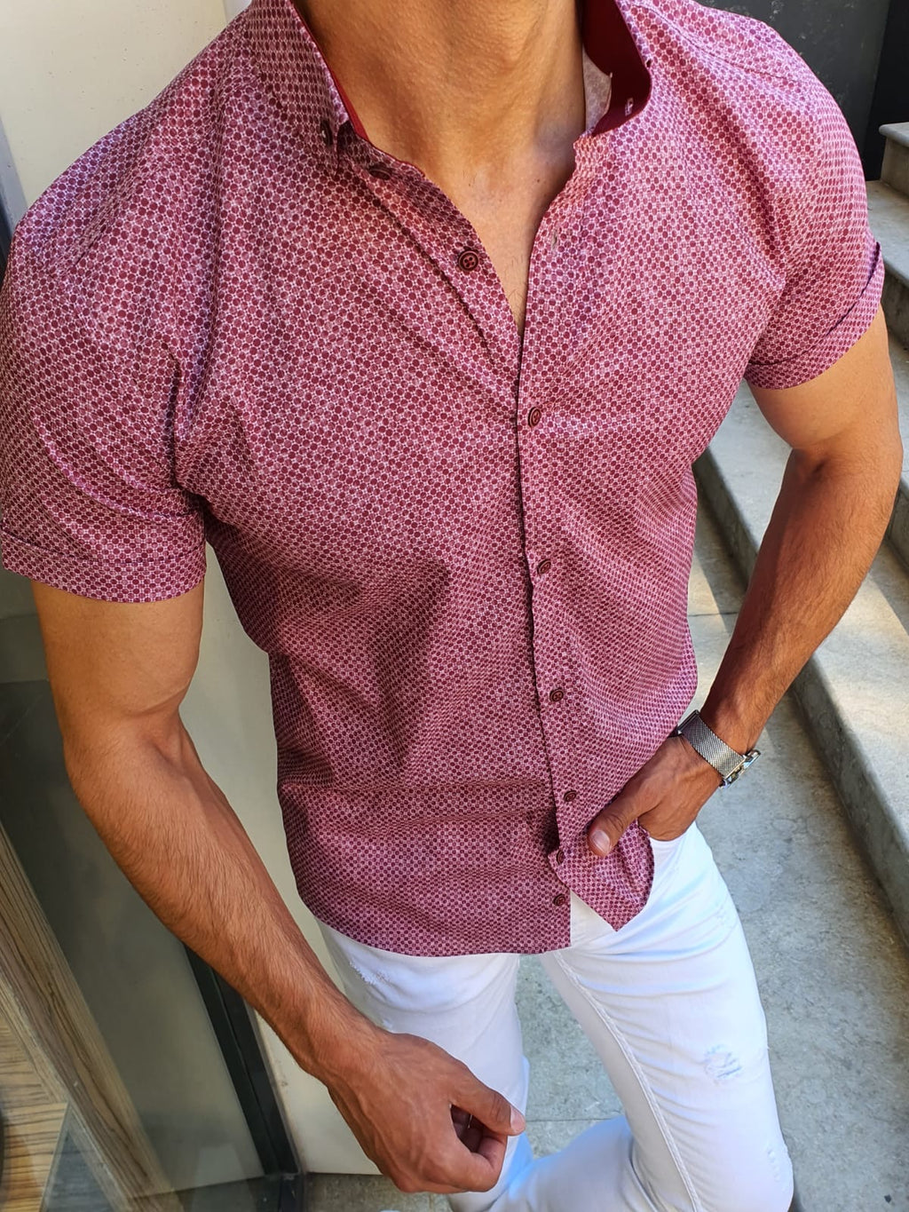 Racine Claret Red Slim Fit Short Sleeve Shirt