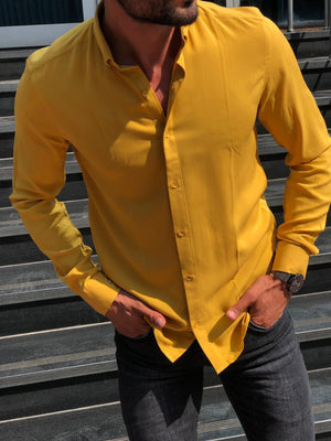 Yellow Buttoned Slim Fit Shirt