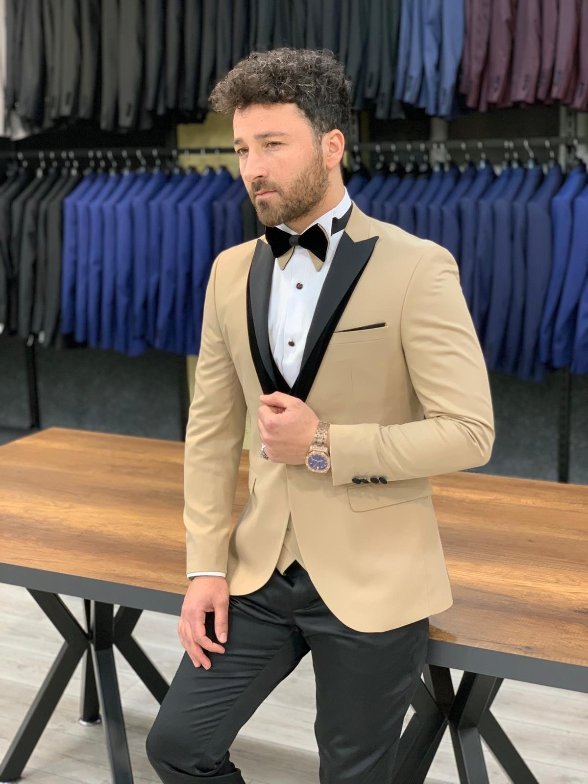 Forenza Royal Slim Fit Gold Tuxedo