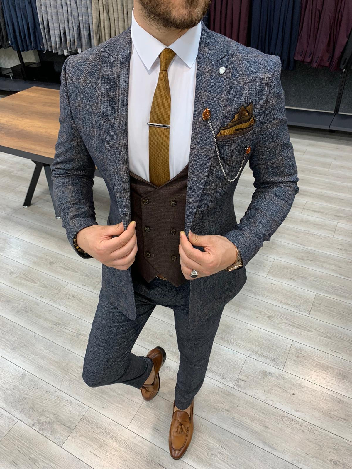 Concord Gray Slim Fit Plaid Check Suit
