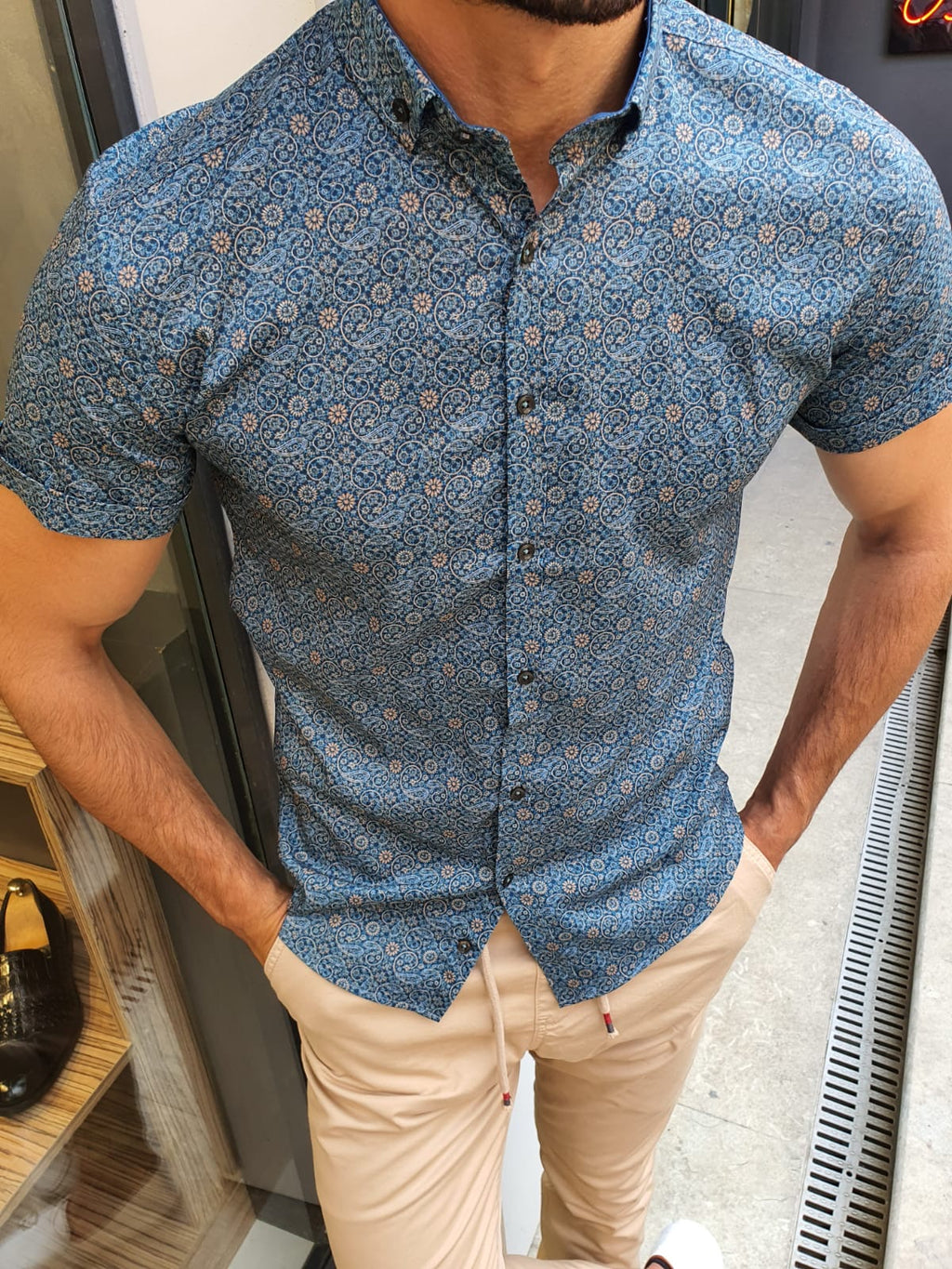 Khaki Slim Fit Short Sleeve Floral Shirt