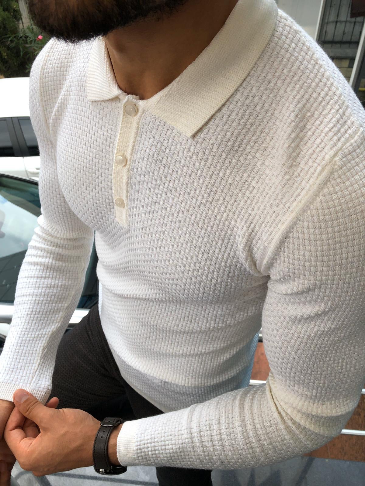 Fabros White Slim Fit Patterned Sweater