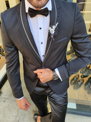 Midvale Black Slim Fit Notch Lapel Tuxedo
