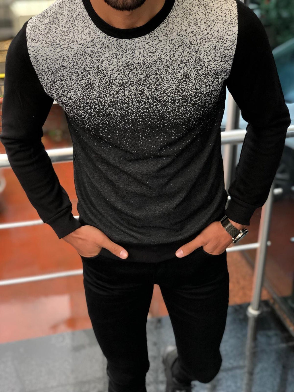 Sapross Black Slim-Fit Sweater