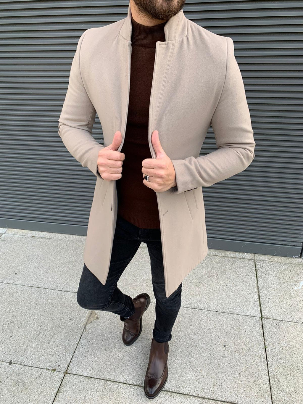 Kenzie Beige Slim Fit Wool Long Coat