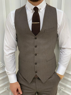 Austin Brown Slim Fit Plaid Suit