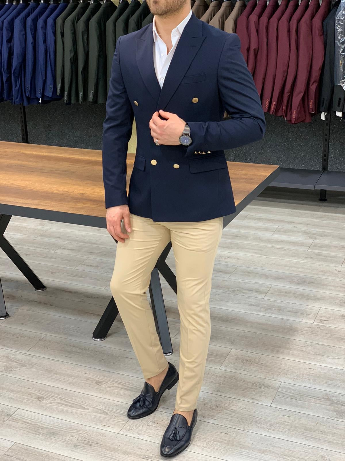 Geneva Navy Double Breasted Blazer