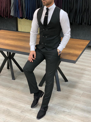 London Black Slim Fit Pinstripe Suit