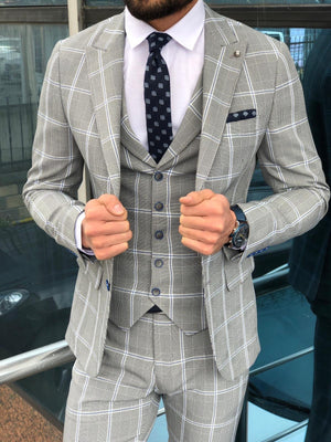 Austin Gray Plaid Slim-Fit Suit