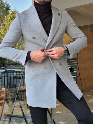 Stefano Gray Slim Fit Wool Long Coat