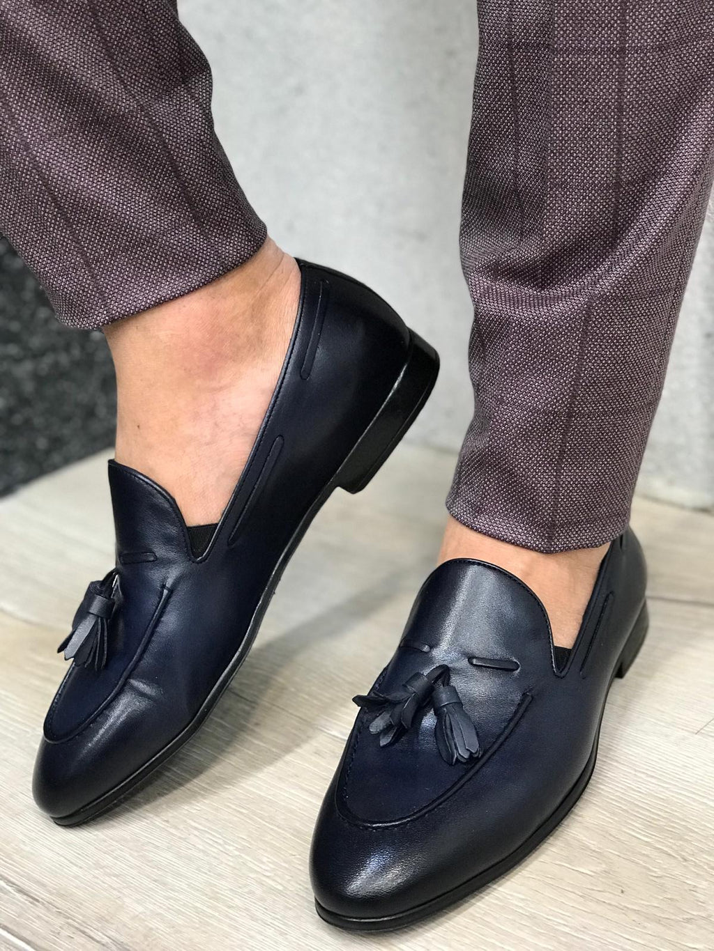 Tassel Leather Navy Loafers