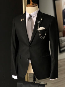Aqua Black Slim Fit Suit