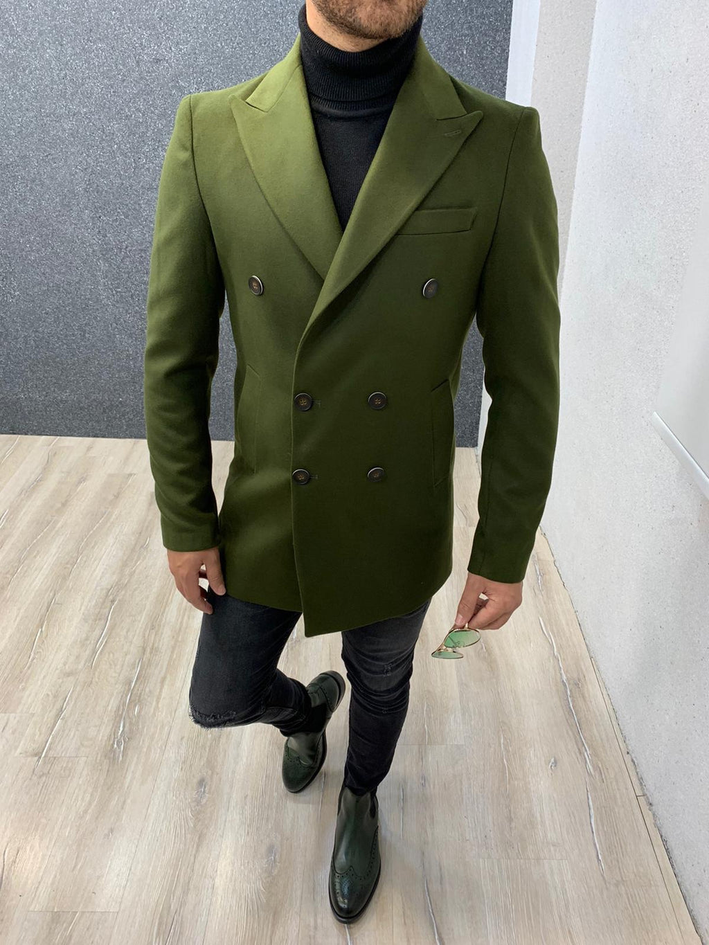 Ade Khaki Slim Fit Long Coat