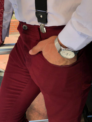 Claret Red Slim-fit Cotton Pants