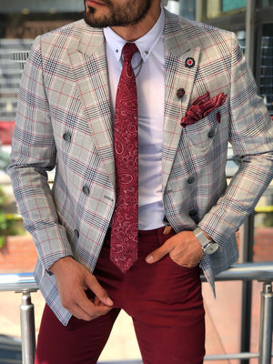 Double Breasted Plaid Gray Blazer