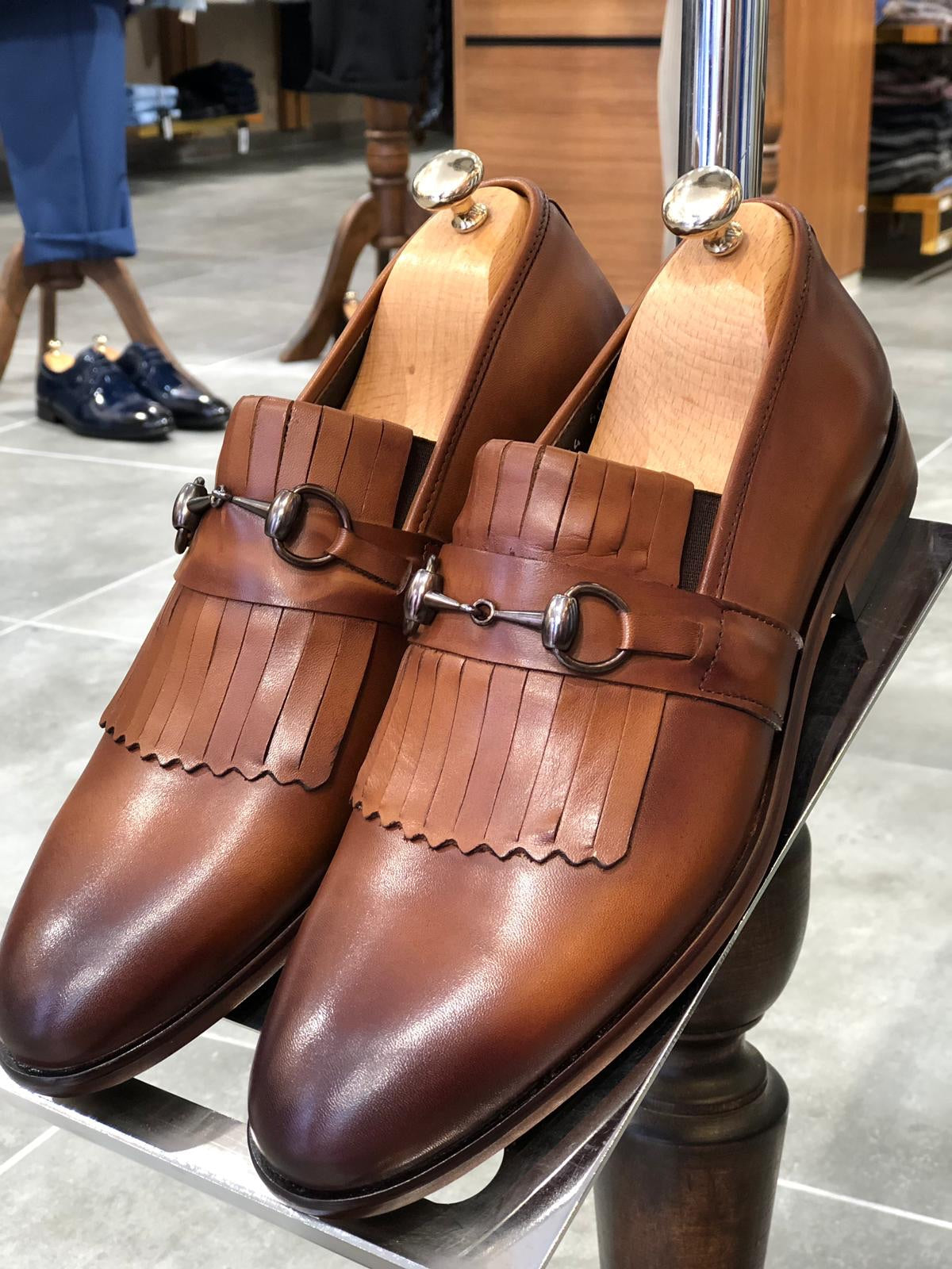 Buckle Detailed Tan Leather Shoes