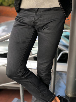 Eva Dark Gray Slim Fit Striped Pants