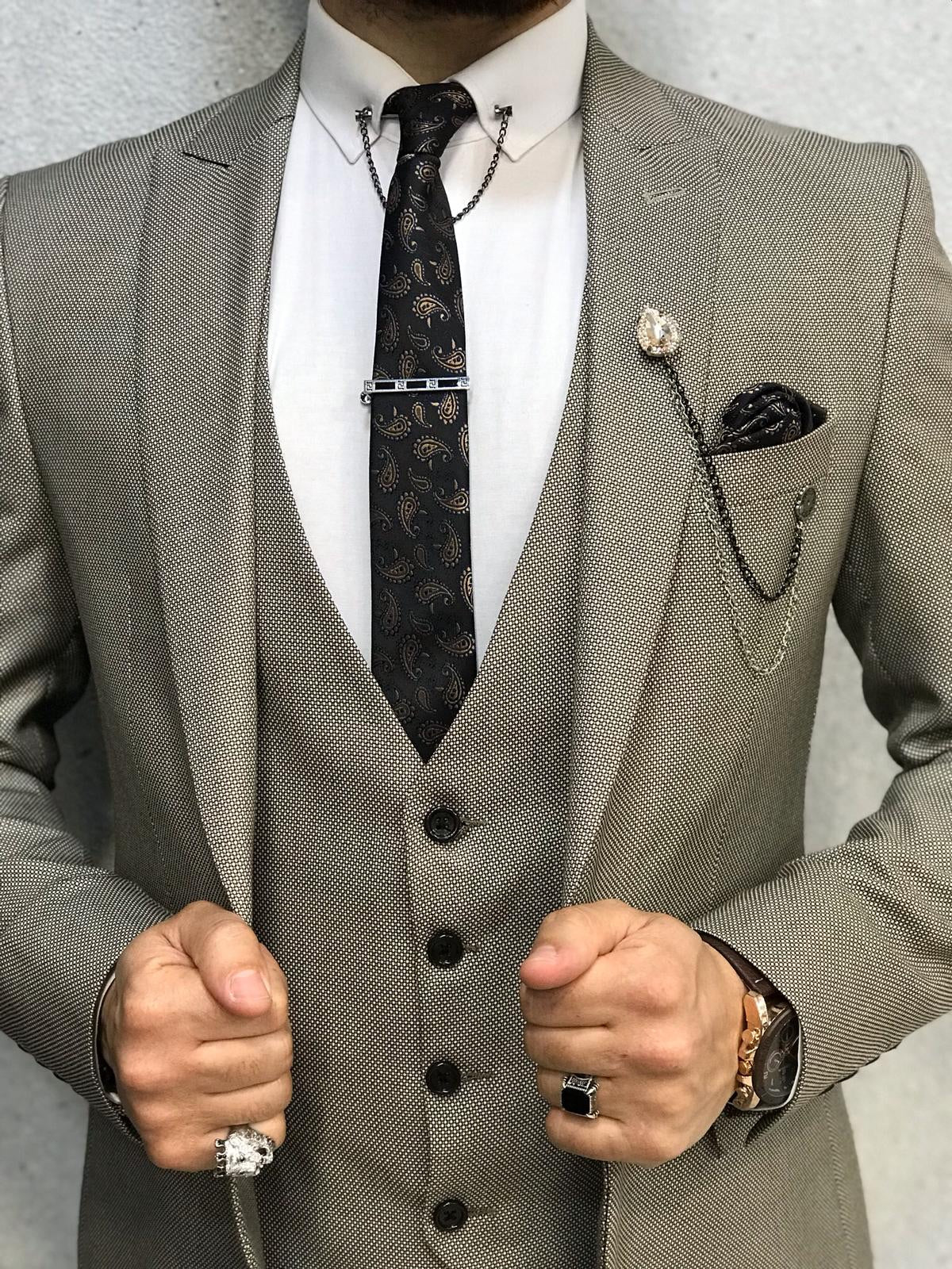 Bernard Dark Cream Slim Suit